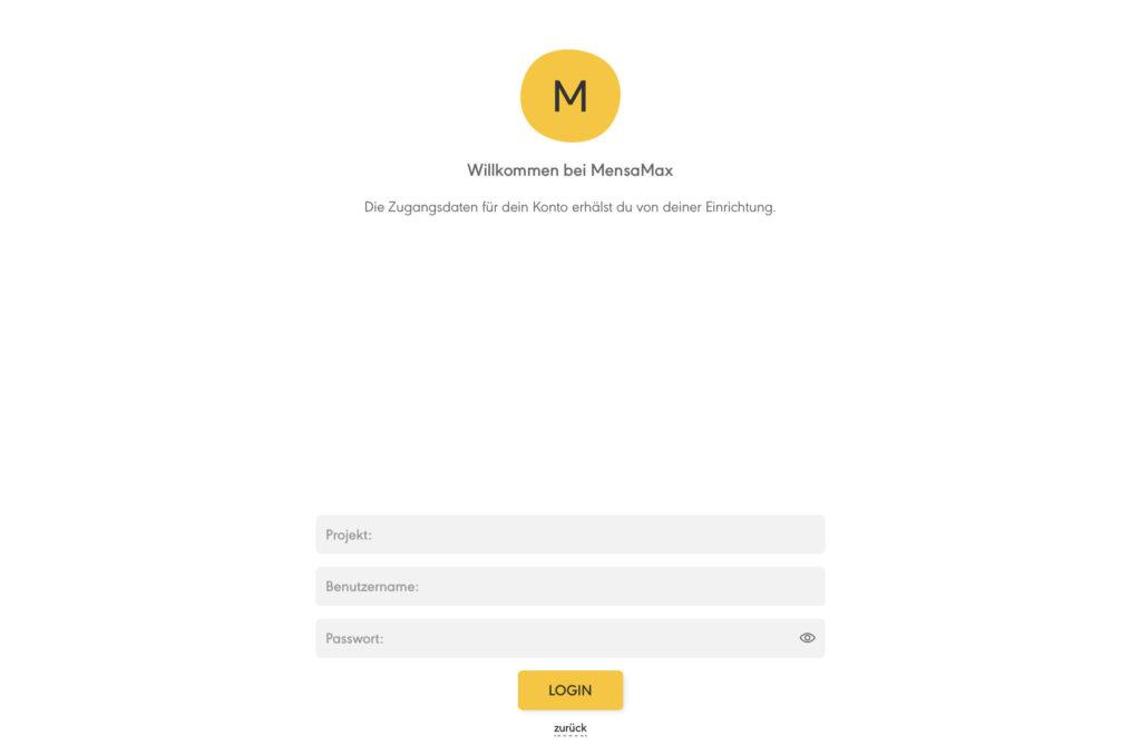 Anmeldemaske in der MensaMax App